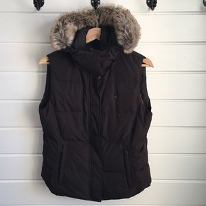 Tommy Hilfiger Brown Puffer Vest with Faux Fur